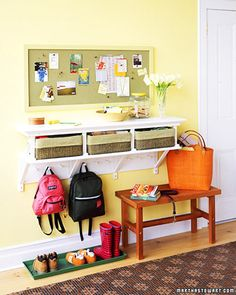 An Entryway Table: Whether it's in a front-hall closet or a series of hooks on the wall, be sure to allow sufficient space for everyone in the household, plus extra space for visitors. Place an initial above hooks, so each family member has his or her assigned place.
