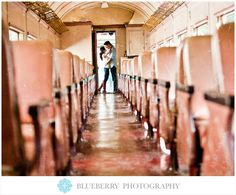 Old vintage railroad train car engagement session photography