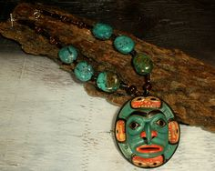 Native American Moon Necklace  Pacific Northwest Native American Coast Salish Moon Mask, hand carved by A. George, grand nephew of Chief Dan