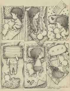 A Girl and Her Rabbit Drawings by Coniglio