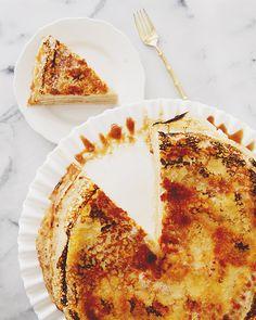 crepe cake with salted caramel + mascarpone + cinnamon pear puree