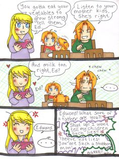fmab spoilers - dinner time by on deviantART Winry And Edward, Ed And Winry, Der Alchemist, Zelda Anime, Elric Brothers, Good Anime Series, Alphonse Elric, Fullmetal Alchemist Brotherhood, Funny Photos