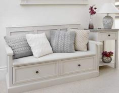 hallway decorating 528398968780355362 - The hallway benches: functional, spacious and decorative Hallway+Storage+Bench+-+Studley Hallway Storage Bench, Wall Bench, Storage Bench Seating, Bench With Shoe Storage, Seat Storage, Hallway Seating, Entryway Stairs, Hall Storage Ideas, Outdoor Storage