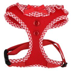 Puppia Vivien Ruffle Dog Harness size: X Small, Red Chanel Outfit, Dog Items, Puppy Clothes, Chanel Handbags, Chanel Bags, Chain Shoulder Bag, Dog Harness, Gingham, Pet Dogs