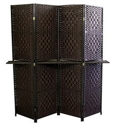 Espresso Brown Paper Straw Weave with 63 in. L Shelving Handcrafted Room Divider which combines with the shelf is great for placing favorite decorative items to style the room. Divider enables for individuals to keep Folding Screen Room Divider, 4 Panel Room Divider, Oriental Furniture, Paper Straws, Walnut Finish, Accent Furniture, Modern Furniture, My New Room, Modern