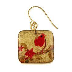 4235-1 - 1/2'  Square Red Bird Floral Earrings originjewelry.net