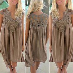 AU Women Casual Chiffon Lace Swing Loose Dress Ladies Sleeveless Beach Sun Dress | eBay