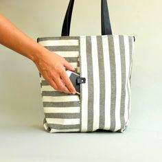 Striped Tote in Grey and White with surprising pockets and Leather Straps A new Foldover Bag, Ticking Fabric, Cute Bags, Tote Purse, Grey And White, Reusable Tote Bags, Shoulder Bag, Shopping Bags, Leather