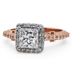 Two Tone Halo Setting with Pave-Set Diamonds - Top Picks of Princess Cut Halo Setting Rings - EverAfterGuide Princess Cut Halo, Princess Cut Diamonds, Wedding Anniversary Rings, Wedding Rings, Wedding Jewelry, Diamond Tops, Halo Setting, Modern Jewelry, Ring Designs