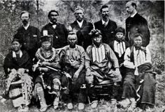 Washington bureaucrats and Sac & Fox group including Henry Clay Jones (standing 2nd from the left) and Moses Keokuk (standing 3rd from the left) - 1883