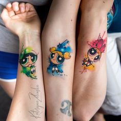 The Powerpuff Girls de Zelenska Kateryna – Tatuajes para mujeres, The Powerpuff Girls … 90s Tattoos, Sister Tattoos, Mini Tattoos, Couple Tattoos, Body Art Tattoos, Small Tattoos, Tatoos, Cartoon Tattoos, Piercing Tattoo