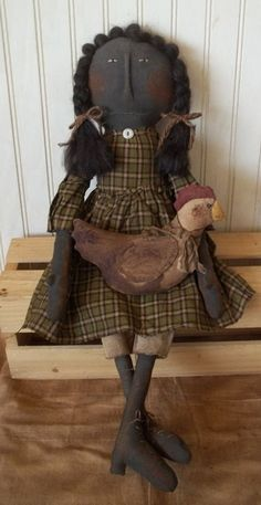 Primitive Grungy Black Girl Doll with Her Chicken #NaivePrimitive