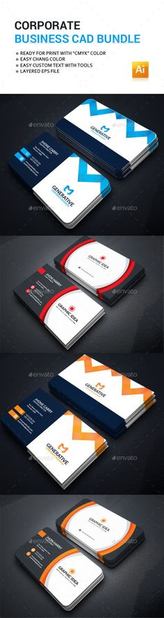 Business Card Design Bundle - Corporate Business Card Template Vector EPS. Download here: http://graphicriver.net/item/business-card-bundle/16877474?ref=yinkira