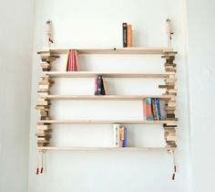 DIY Rope Projects - A&D Blog - rope & wood block/plank shelving.