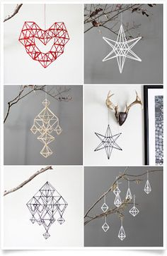 Himmeli mobiles from AMradio Straw Crafts, Diy Straw, Xmas Crafts, Diy And Crafts, Diy Hanging, Hanging Decorations, Straw Decorations, Diy Projects To Try, Christmas Diy