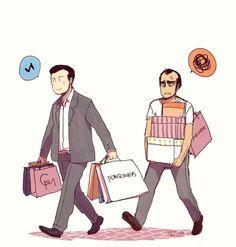 Michael Desanta and Trevor Philips shopping together in Los Santos, Gta V