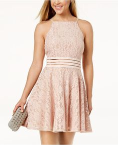 332eb5c99 City Studios Juniors' Lace Illusion Fit & Flare Dress & Reviews - Dresses -  Juniors - Macy's