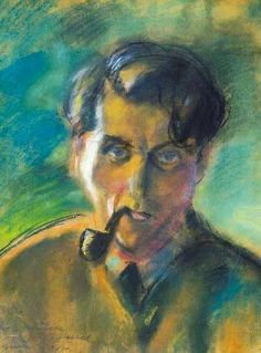Márffy, Ödön - The painter smoking a pipe, about 1920 (Self-portrait) Fauvism, Still Life, Watercolor, Smoking, Artwork, Selfies, Paintings, Artists, Fall Living Room