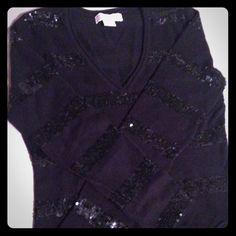 Michael Kors sweater MICHAEL KORS size Medium sweater. Black sweater with black sequence stripes. Michael Kors Sweaters V-Necks