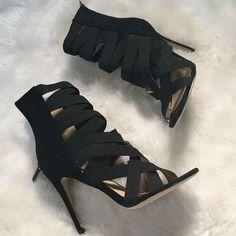 Black Multi Strap Heels
