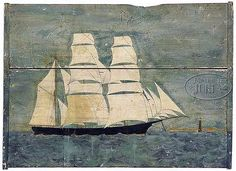 FOLK ART PORTRAIT OF A BLACK HULL SHIP PASSING MINOTS LIGHT. Mid 19th Century.