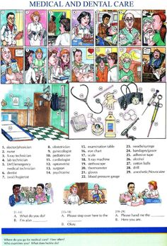 68 - MEDICAL AND DENTAL CARE - Pictures dictionary - English Study, explanations, free exercises, speaking, listening, grammar lessons, reading, writing, vocabulary, dictionary and teaching materials