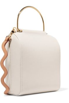 White and peach textured-leather (Calf) Hook fastening at top  Weighs approximately 1.8lbs/ 0.8kg Made in Italy