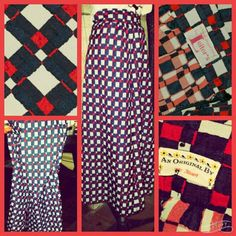 Vintage Leiter's  Checker Pattern Maxi Skirt S Awesome Vintage High waisted maxi skirt by Leiter's. Wonderful red, white and blue pattern . Excellent condition. Measurements are 14 at waist- one side, 20 hips and 41.5 in length. Hook and eye closure. Slit at side. Vintage Skirts Maxi