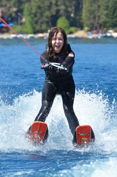 Waterskiing lessons are one of the best things to do in Lake Tahoe with kids in the summer.