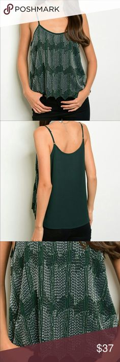 Beaded Chiffon Tank Gorgeous Forest Green Beaded Chiffon Tank. Features scalloped hem, beaded front and adjustable straps. Threadzwear Tops Tank Tops