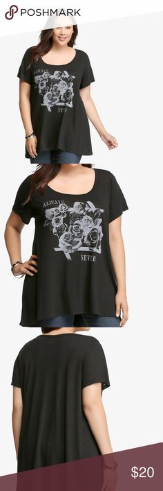 "Torrid Graphic Hi-Lo Tee ""Always and forever? Try never. A how-low-can-you-go scoop neck is matched by a subtle hi-lo hem. Everyday tees get the day off when you're sporting this black knit style with grey floral graphics. Effortlessly cool."" New with tags, size 1X. torrid Tops Tees - Short Sleeve"
