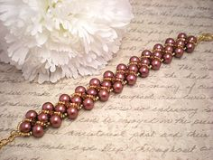 Chocolate Swarovski Pearl Right Angle Weave Bracelet by NiteDreamerDesigns
