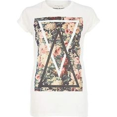 White floral triangle print t-shirt - print t-shirts / vests - t shirts / vests / sweats - women River Island River Island Fashion, Triangle Print, T Shirt Vest, T Shirts For Women, Clothes For Women, Printed Tees, Women Wear, My Style, Funky Style