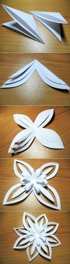 Поделки из бумаги: объемная снежинка.