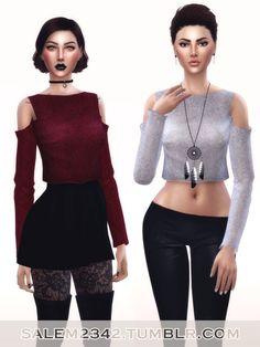 Shoulders Crop Jumper for The Sims 4