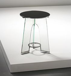 GIO PONTI Occasional table, circa 1932 Trex clear glass, Temprit opaque glass, nickel-plated brass. 41 x 31.8 cm (16 1/8 x 12 1/2 in.) Manufactured by Luigi Fontana, Italy. Manufacturer's decals with TREX and TEMPRIT. Together with a certificate of authenticity from the Gio Ponti Archives.