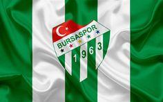 Download wallpapers Bursaspor, Bursa, football, Turkish football club, emblem, Bursaspor logo, green silk flag, Turkey, Turkish Football Championship
