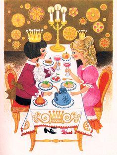 'The Princess and the Pea' Pestalozzi Publishing, 1971, Germany Illustration by Felicitas Kuhn
