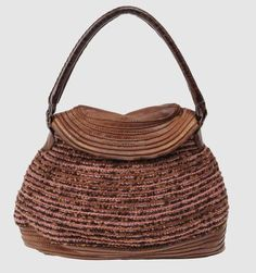leather and crochet handbag