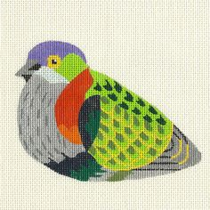 Needlepoint Bird Canvas - Fruit Dove - SALE by ADragonsTaleDirect