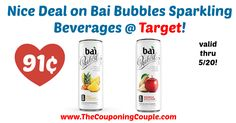 Awesome savings, these cans are regularly $1.99! Grab yours this week! Nice Deal on Bai Bubbles Sparkling Beverages @ Target!  Click the link below to get all of the details ► http://www.thecouponingcouple.com/nice-deal-on-bai-bubbles-sparkling-beverages-target/ #Coupons #Couponing #CouponCommunity  Visit us at http://www.thecouponingcouple.com for more great posts!