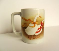 Christmas Geese Otagiri Mug Collectible Coffee Cup by OldLikeUs