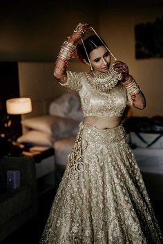 A Dreamy Wedding In Nasik With A Bollywood Themed Sangeet. Check out photos, ideas & stories shared by Bride & Groom. Destination Wedding Decor, Indian Wedding Planning, Plan My Wedding, Wedding Ideas, Golden Bridal Lehenga, Indian Bridal Lehenga, Bride Getting Ready, Saree Wedding, Desi Wedding
