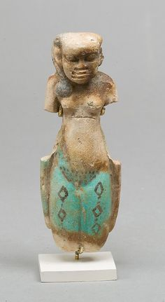 Middle Kingdom Goddess Middle Kingdom Mid 13th Dynasty ca. 1750 B.C. Country of Origin: Egypt, Memphite Region, Lisht North, cemetery south of pyramid below Faience, paint h. 11.8 cm (4 5/8 in)