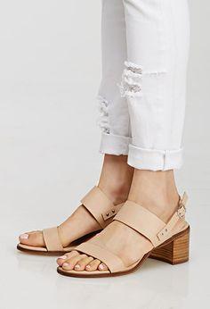 Nude Block Heel Sandals - $28