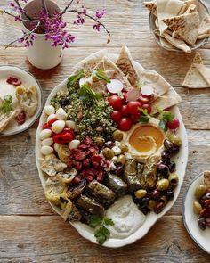 Vegetarian Mezze Platter featuring delicious items from Delallo foods - love this for a party!
