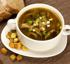 Shiitake Mushroom Soup With Umami Croutons (replace butter with non-dairy earth balance butter or olive oil)
