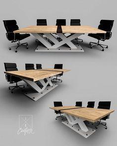 We design + build ONE OF A KIND tables.  Maple x Walnut x Steel #nofaux  iRcustom.com  #interior_design #moderndesign #moderntable #modernfurniture #chicagointeriordesign #contemporarydesign #contemporaryart #modernart #minimalism #modernkitchen #diningtable #furnituredesign #lainteriordesigner #designlovers #designinspiration #interiordesign #commercialinteriors #luxurydesign #luxuryhomes #commercialrealestate #chicagointeriors Wood Furniture Legs, Table Furniture, Cool Furniture, Modern Furniture, Furniture Design, Office Table And Chairs, Table Desk, Modern Desk, Modern Table