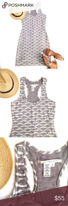 Max Studio Racer Back Tank Dress, Sz S Gray and white patterned bodycon racer back tank dress. Fully lined as you can see in last pic. High quality thick and stretchy fabric. Super sexy for summer! Max Studio Dresses