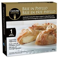 Frozen snacks and meals for every day and any occasion! Www.cuisineadventures foods.com Ready to bake frozen Brie cheese wrapped in phyllo